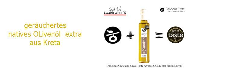 Geräuchertes natives Olivenöl extra aus Kreta