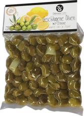 Geschlagene grüne Oliven m. Zitrone, 250 g